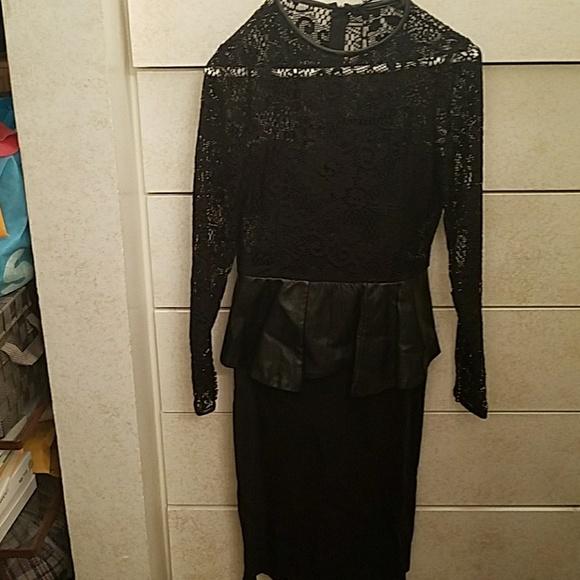 Zara Dresses Sara Lace Topleather Peplum Waist Dress Never Wor